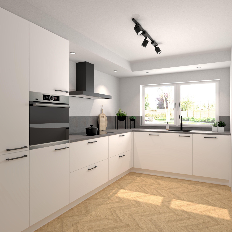Keukeninspiratie Witte Keuken Met Betonlook Werkblad Witte Keuken Keuken Koof Keuken Ontwerpen
