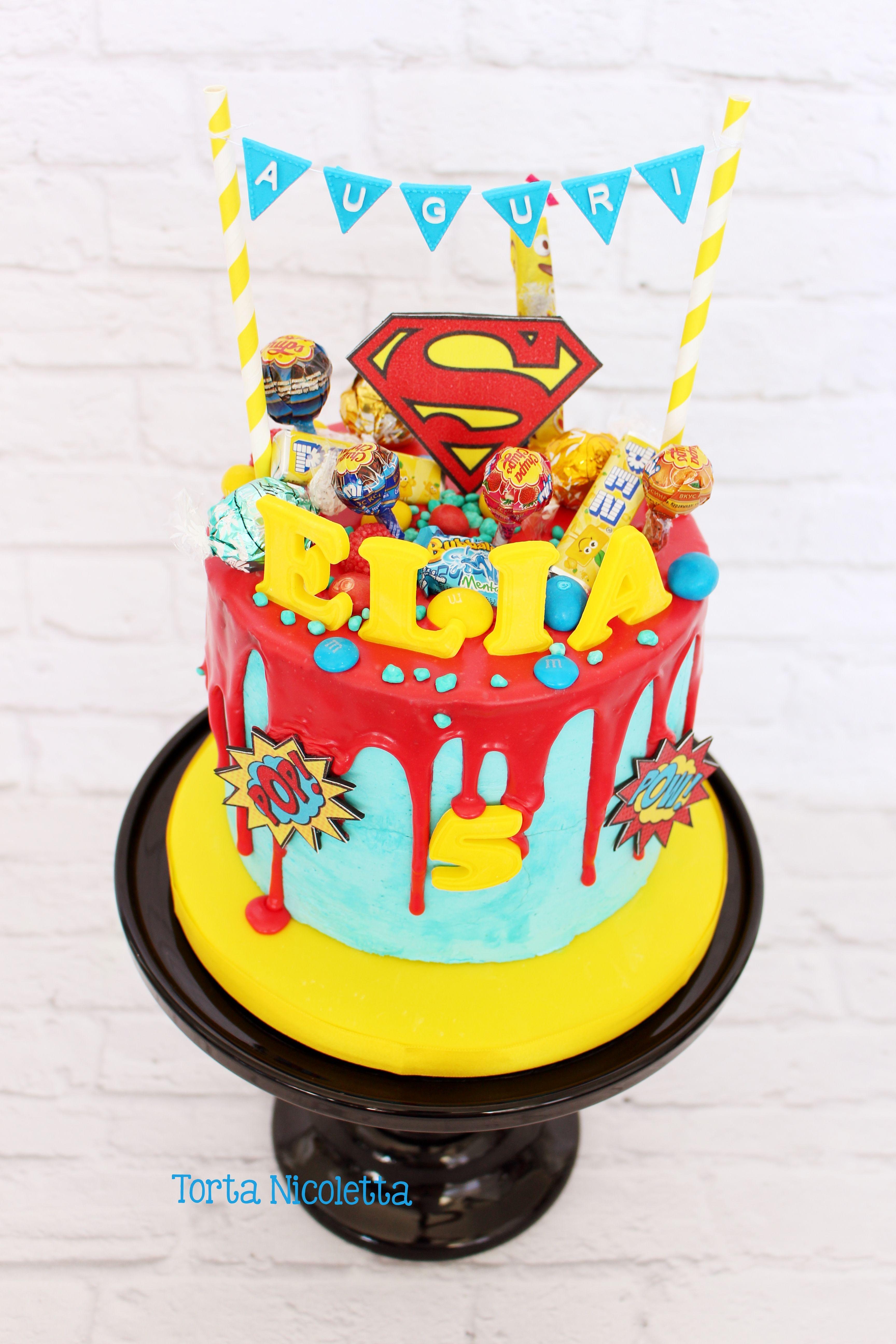 Superman Drip Cake Omnom In 2019 Cake Drip Cakes Superhero Cake
