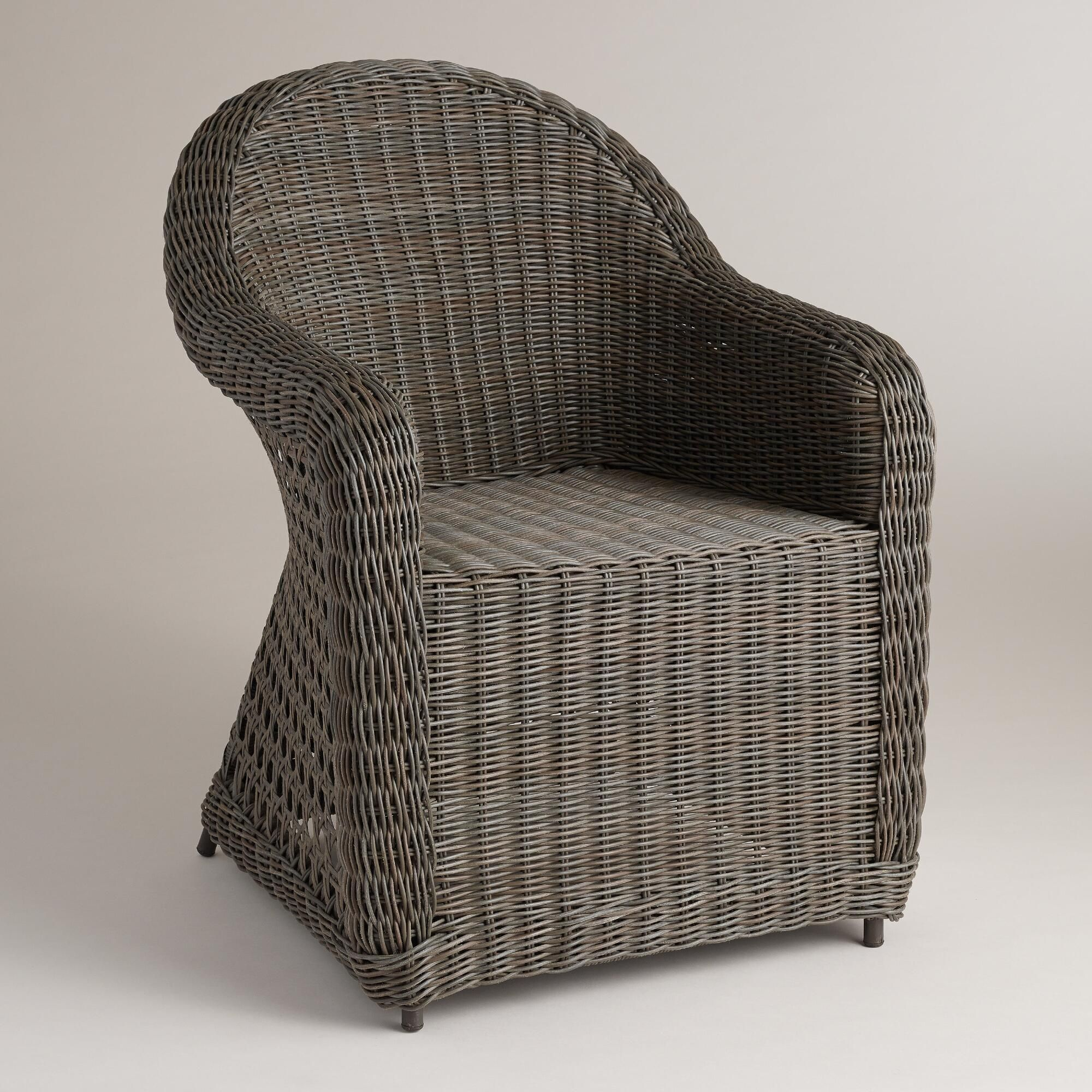 Finished In Distressed Gray For A Natural Wicker Look, This Comfortable  Outdoor Chair Boasts A Rounded Profile Full Of Country Classic Charm.