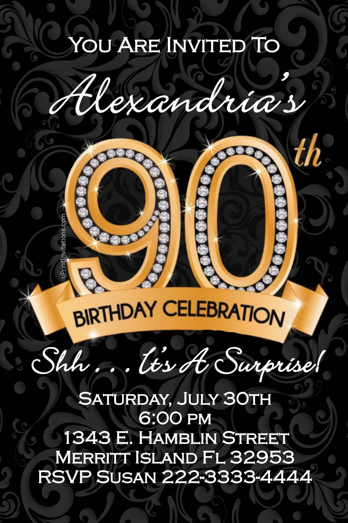 90th Birthday Invitations - Digital Download - Get these invitations ...