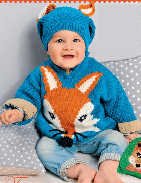 """Пуловер и шапочка с мотивом """"лиса"""" для мальчика   Вязание ..."""
