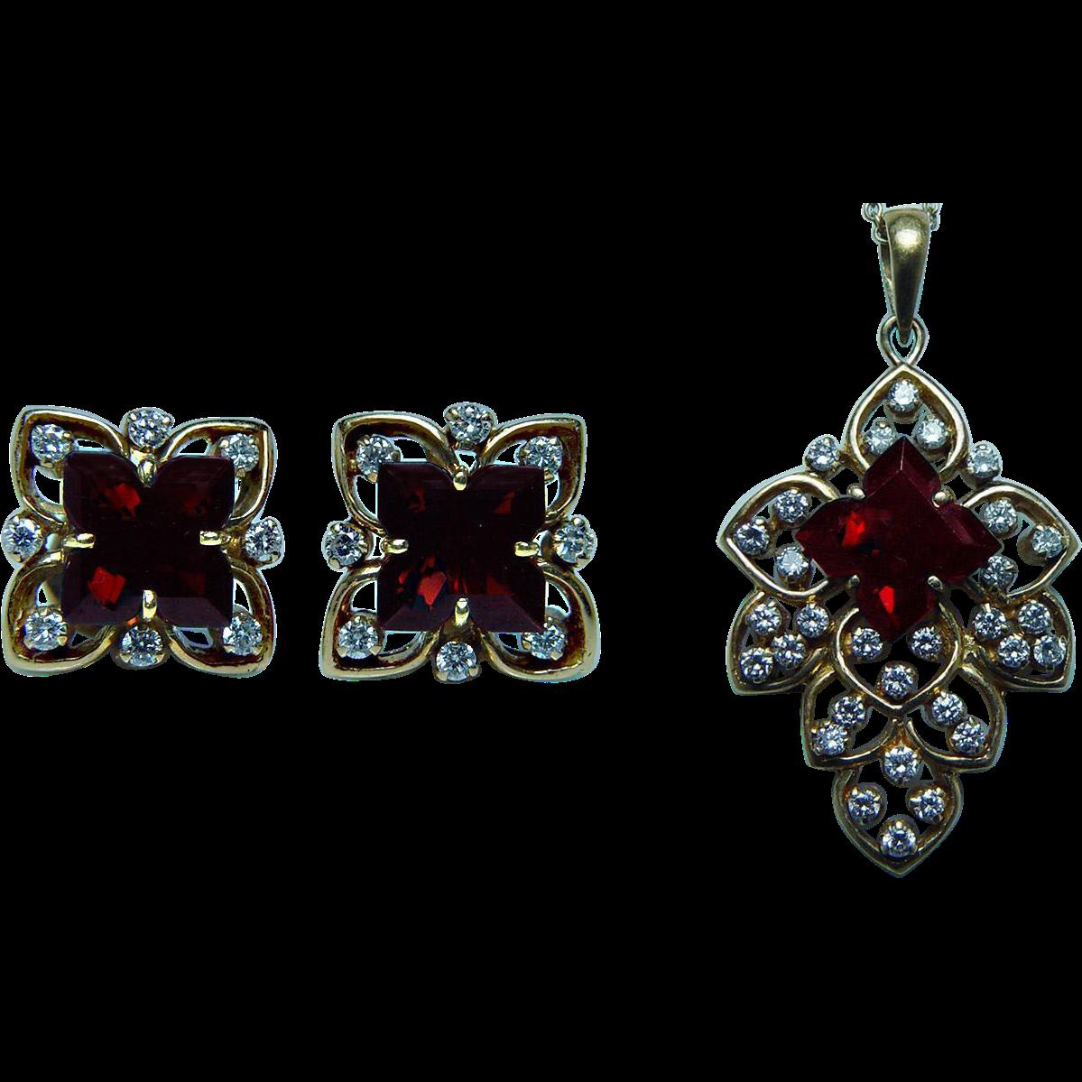 Vintage k gold diamond garnet earrings pendant set estate heavy