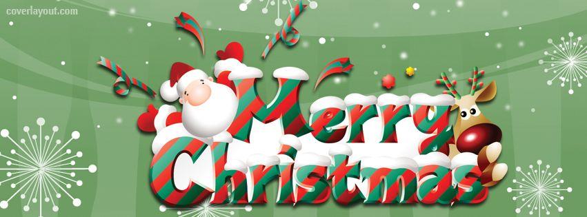 merry christmas santa reindeer facebook cover coverlayoutcom - Christmas Santa Reindeer