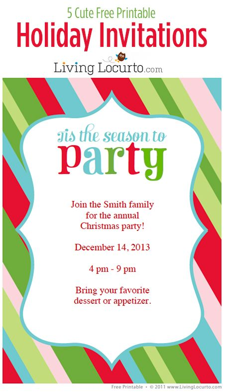 5 Free Printable Holiday Party Invitations Holiday party - free xmas invitations