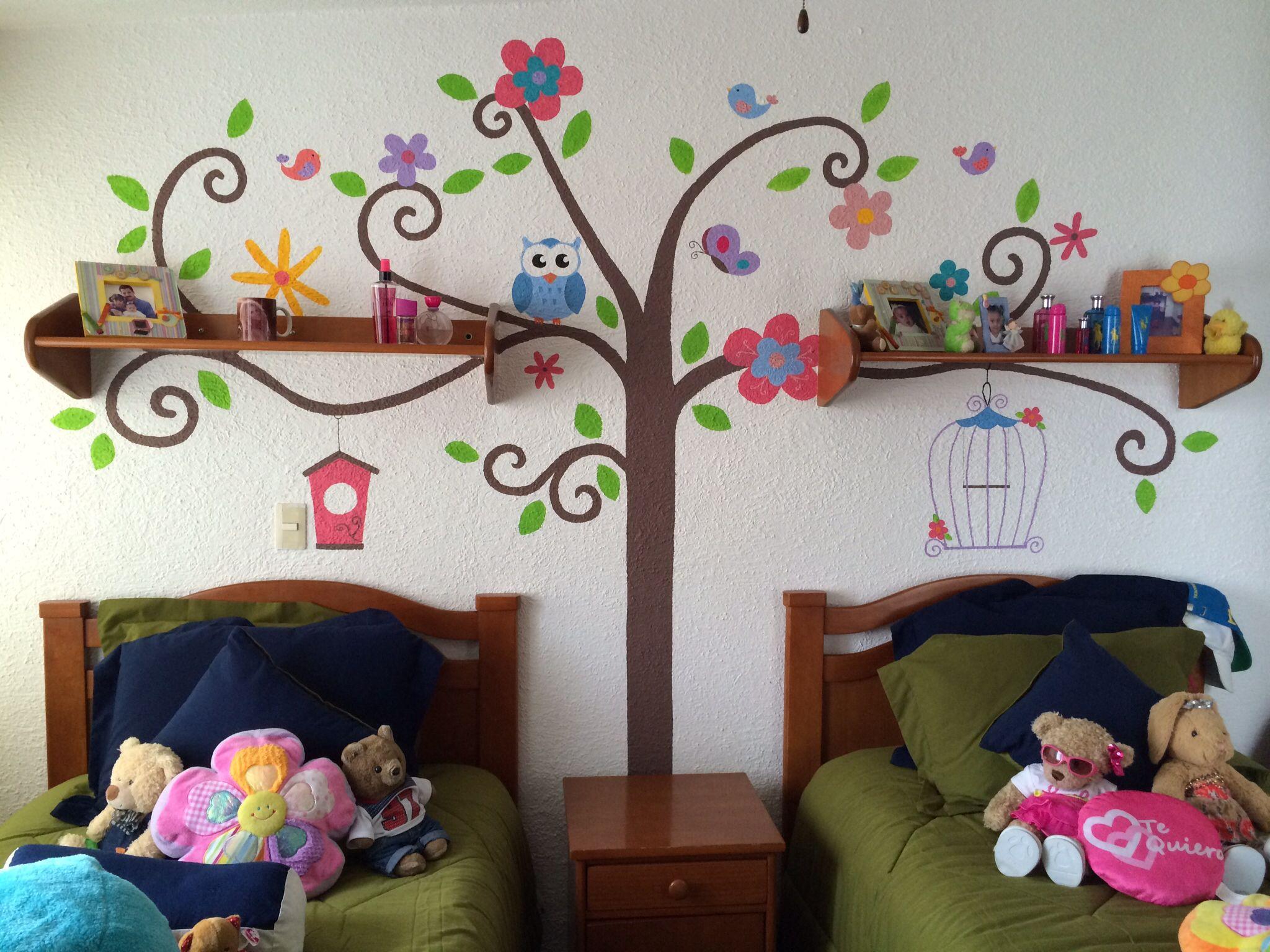 Mural infantil para ni as murales pinterest mural for Murales habitacion bebe