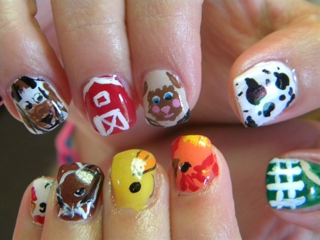 Down On The Farm By Lisapink From Nail Art Gallery Farm Animal Nails Nail Art Nails