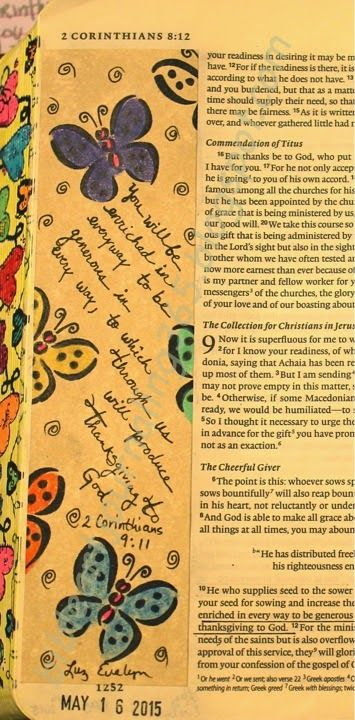 """Illustrating very """"EASY"""" art and letters ONLY in the margin of my Bible for 365 days.  It is FREE!  Using 3 main materials (Bible, pen and color pencils).  I get so many compliments when I use my Bible and others see my art…what a wonderful way to share the gospel.  Join me anytime and tell others.  """"Scripture quotations are from the ESV® Bible, copyright © 2001 by Crossway, a publishing ministry of Good News Publishers. Used by permission. All rights reserved."""""""