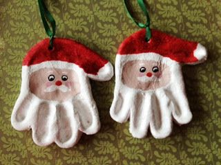 Hand Print Santa Ornaments from flour salt water ribbon and