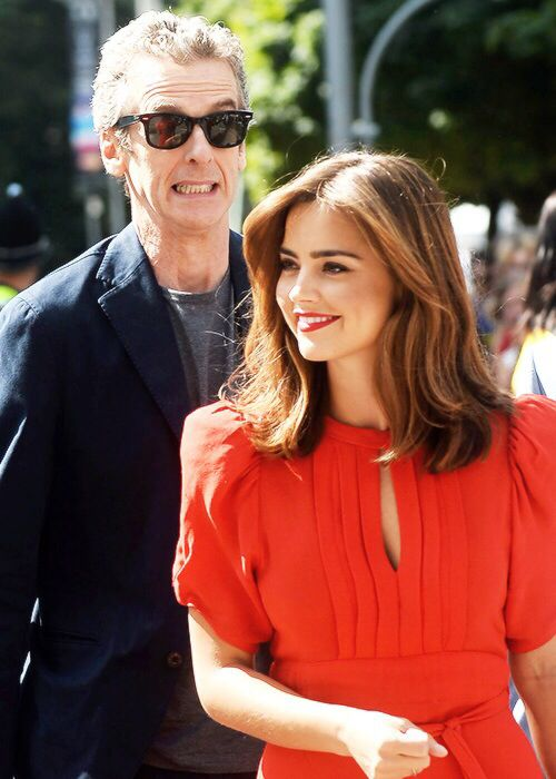Jenna Coleman and Peter Capaldi. She looks amazing!
