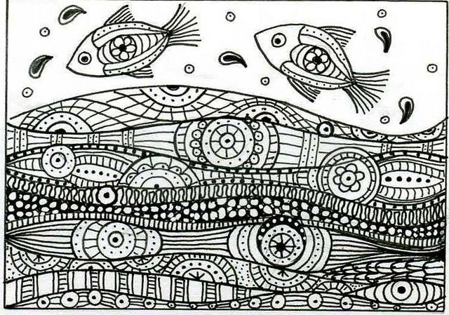 Leaping Fish Zentangle Patterns Coloring Pages Zentangle Drawings