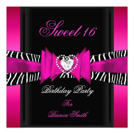 Sweet 16 Sweet Sixteen Hot Pink Black Zebra Card Sweet sixteen