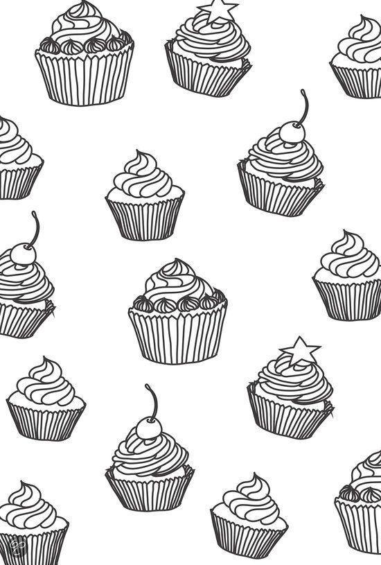 kleurplaten voor volwassenen cupcakes