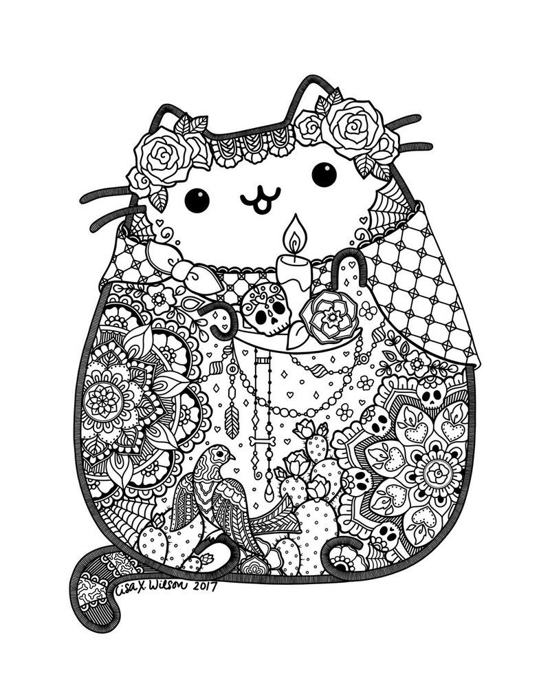 Day Of The Dead Pusheen Fan Art By Lxoetting Pusheen Coloring Pages Cat Coloring Page Halloween Coloring Pages