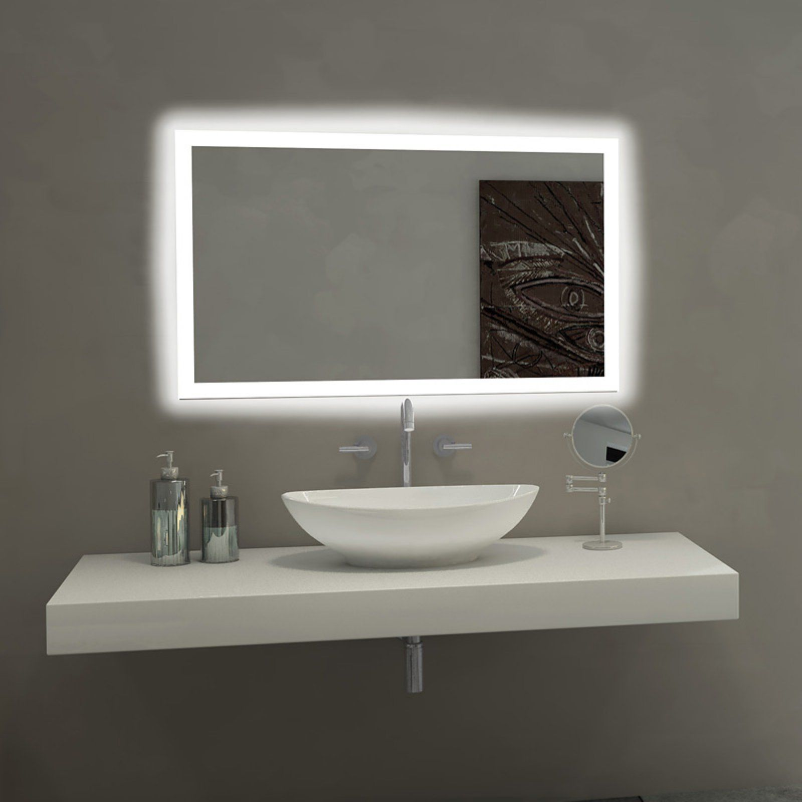Paris Mirror Rectangle Bathroom Mirror With Led Backlights