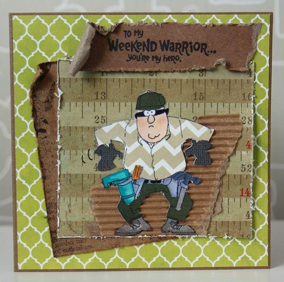 Art Impressions Ai Heroes Weekend Warrior set handmade masculine carpenter contractor themed card.