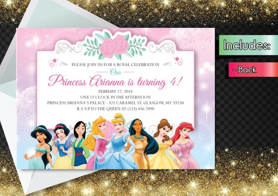 Editable PDF Disney Princess Invitation Downloadable Birthday Party