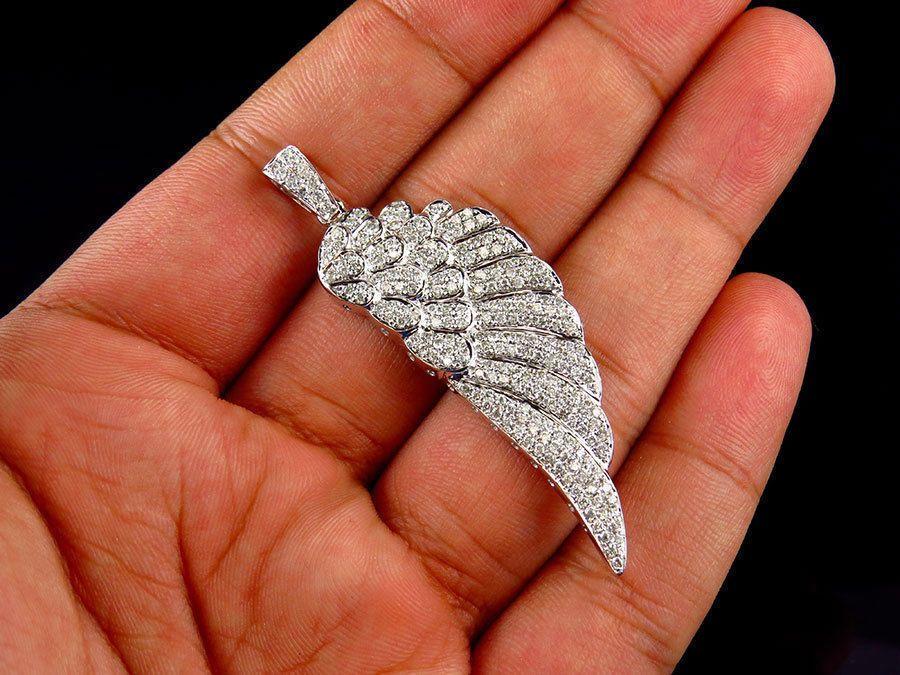 "Yellow Gold Finish Single Angel Wing Genuine Diamond 1/"" Pendant Charm 0.10CT"