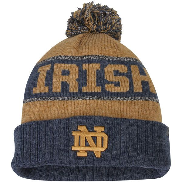 1eae4cee1f8 Notre Dame Fighting Irish Top of the World Below Zero Cuffed Pom Knit Hat -  Gold Heather Navy