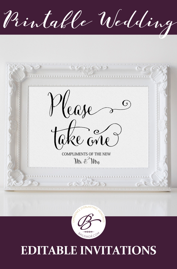 Printable Favors Sign That States Please Take One Diy Wedding Template