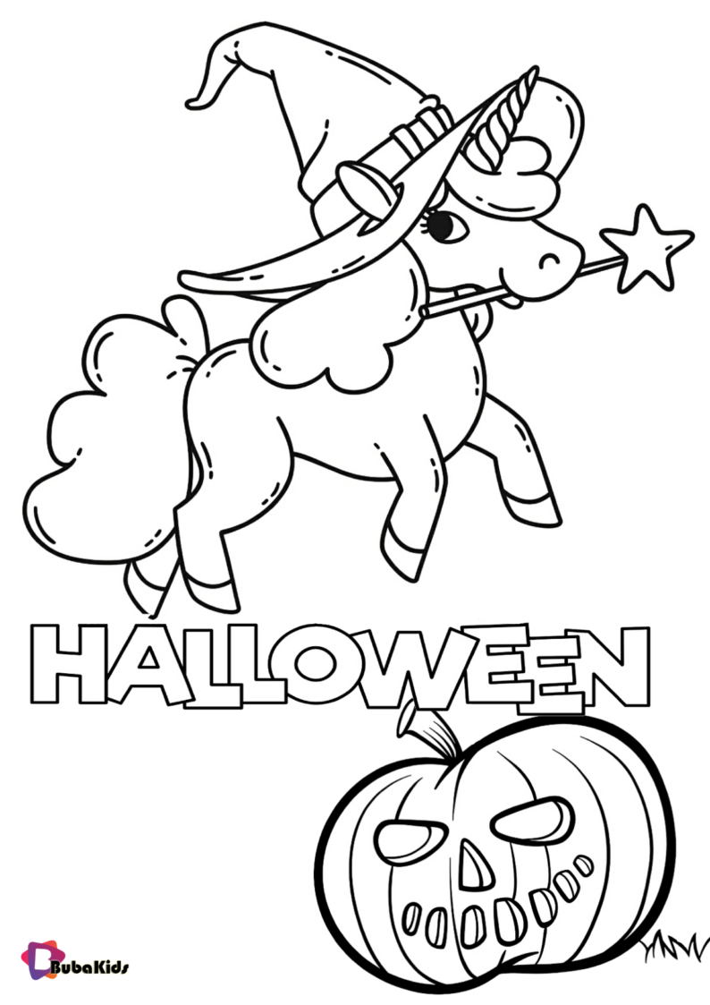 Unicorn And Pumpkin Halloween Coloring Page Halloween Coloring Pages Coloring Pages Halloween Pumpkins