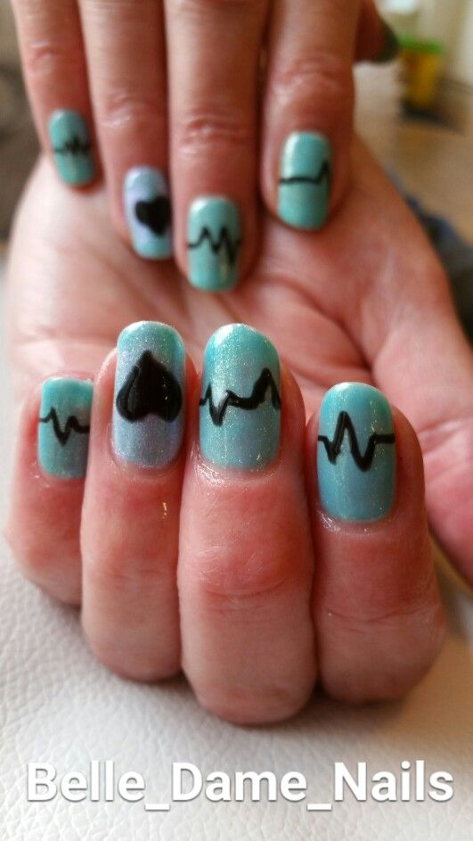 Cute heartbeat nails. By Tan Adams at Belle Dame Nails. #BDLADY ...