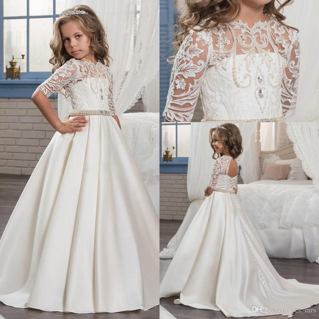 Cheap 2017 new cheap flower girls dresses jewel neck half sleeves i found some amazing stuff open it to learn more dont wait cheap flower girl dressesflower izmirmasajfo