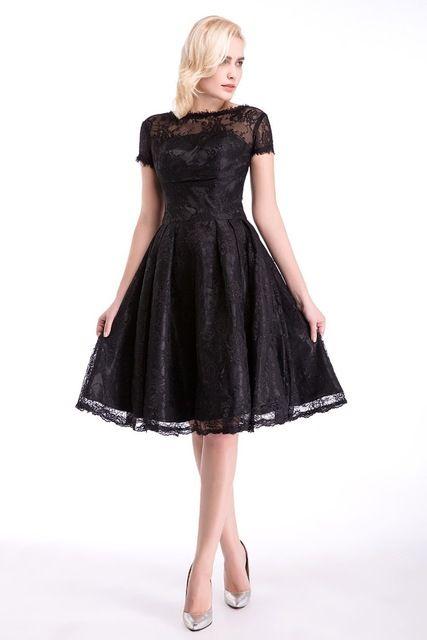 Prom Dresses A Line Sleeve Short Lace Baile Knee Length O-Neck