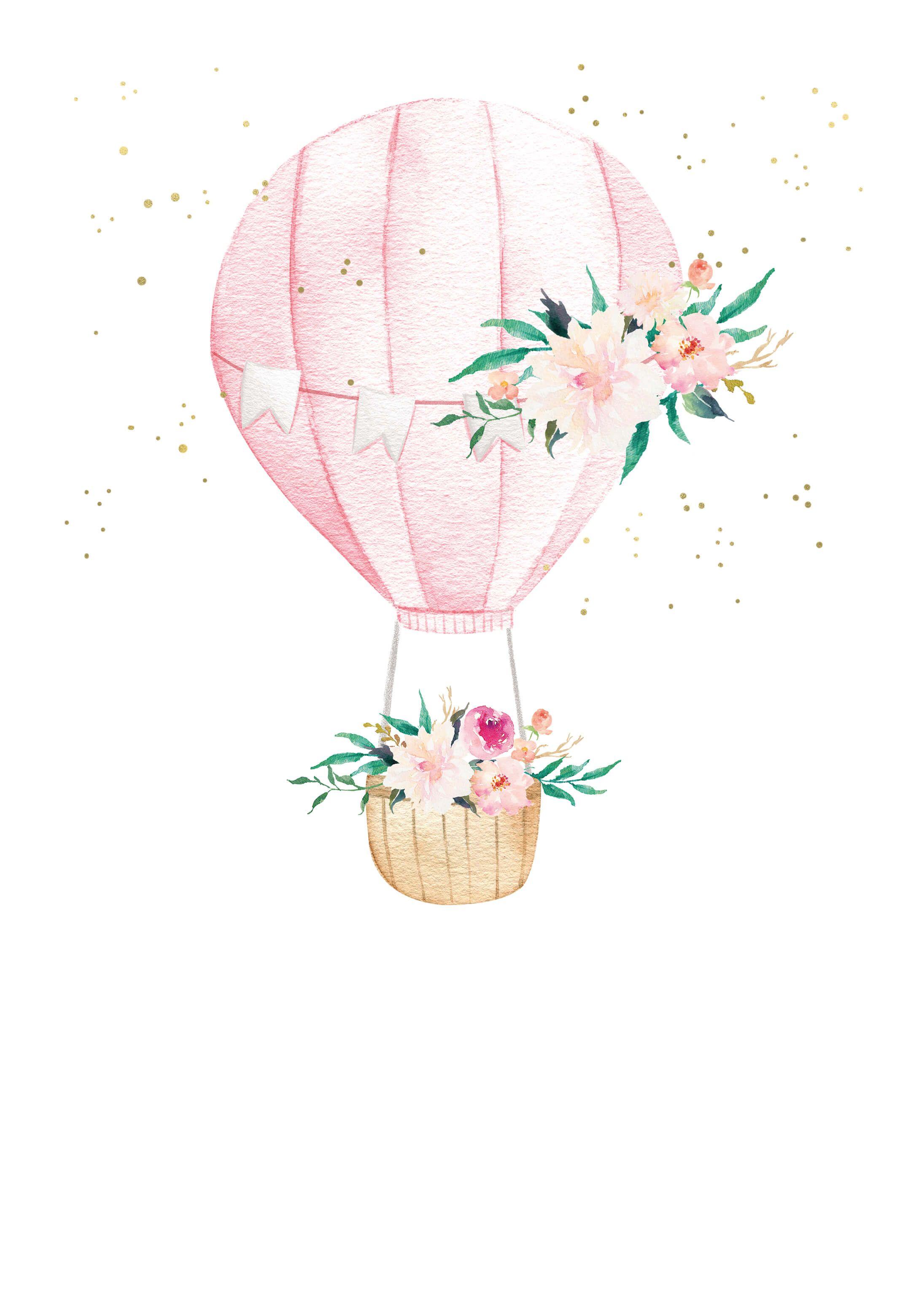 Floral hot air balloon Birthday Invitation Template