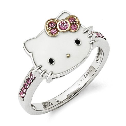 99dd76b2d Sterling Silver Hello Kitty Ring with Pink Crystals - Size 7 | Hello ...