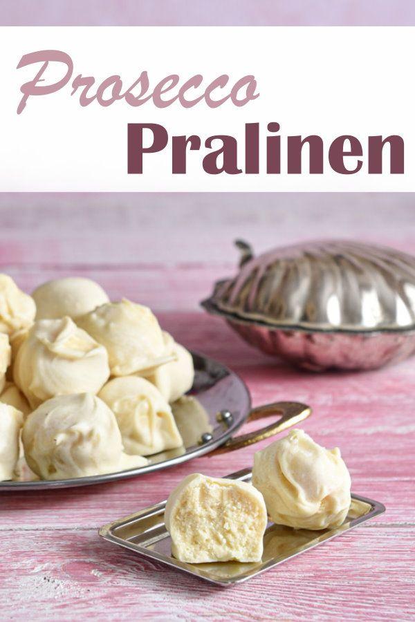 Prosecco Pralinen. Mit weißer Schokolade.