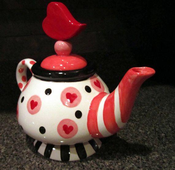 Big Red Heart Valentines or wedding whimsical ceramic by artzfolk, $90.00