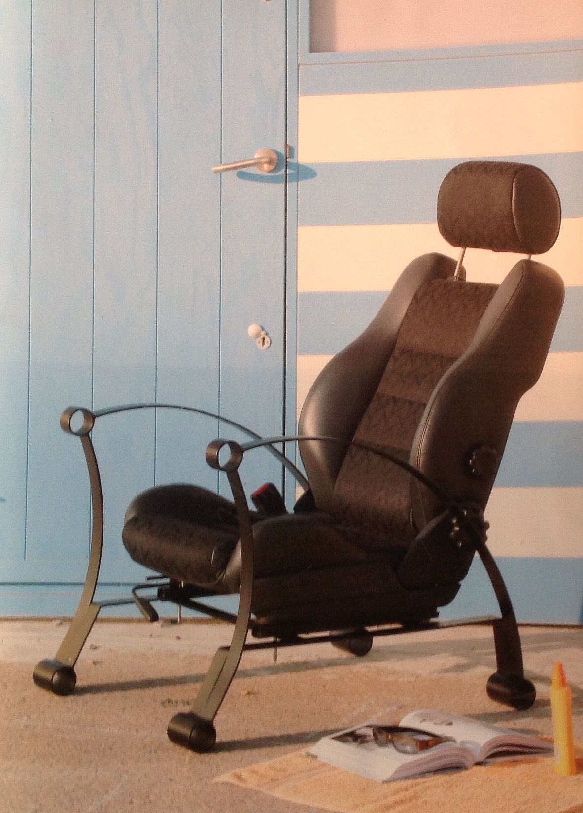 car seat, chair. based on the leaf spring. automobile up cycling