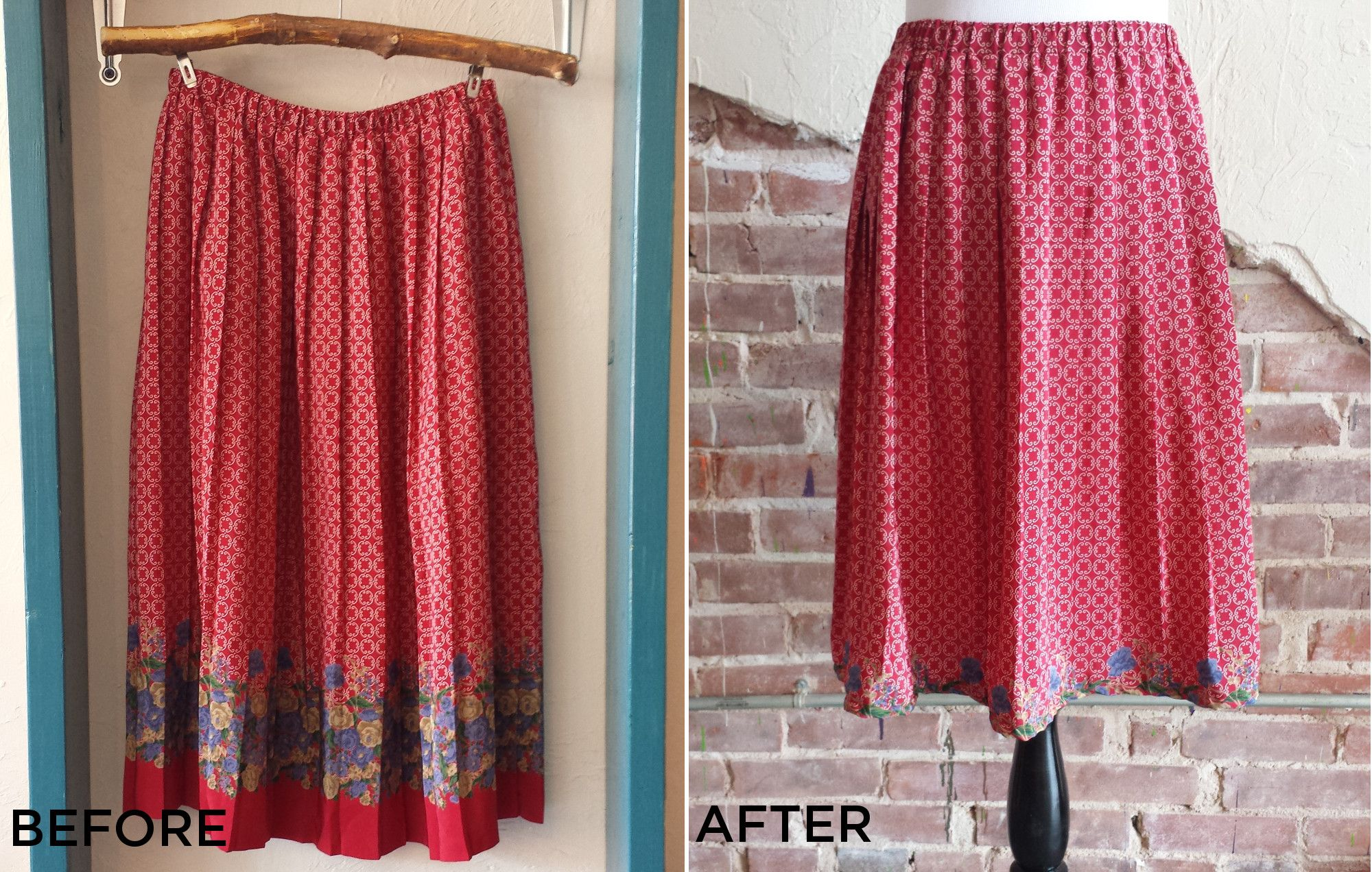 Upcycled red vintage skirt with flowers. Blog tutorial with before, during and after images!  #sewing #diy #upcycle #refashion #repurpose #vintage