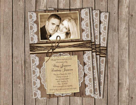 Rustic Wedding Invitation, burlap, lace, lights, chandelier,Digital file, Printable on Etsy, $15.00