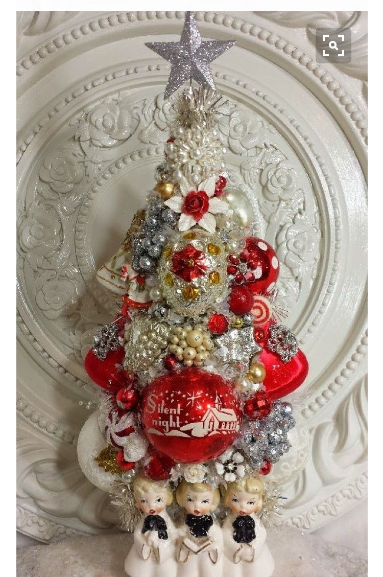 Vintage Christmas Craft Ideas Part - 43: Vintage Carolers Planter CHRISTMAS Bottle Brush Tree LOADED With Ornaments  Ms. Bingles Has Outdone Herself!