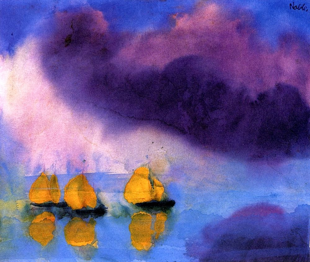 Sea with Violet Clouds and Three Yellow Sailboats Emile Nolde - 1946