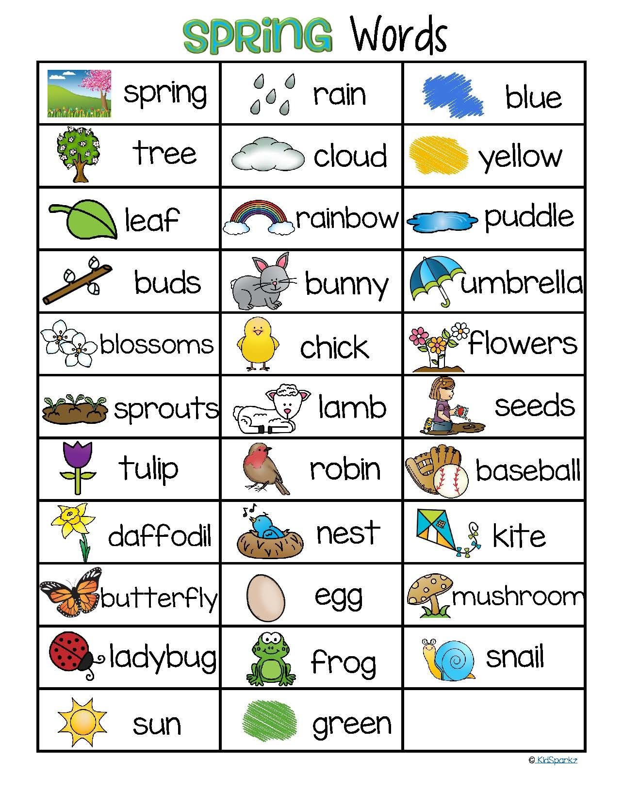SPRING Vocabulary List 32 Words and Pictures FREE | Material ...