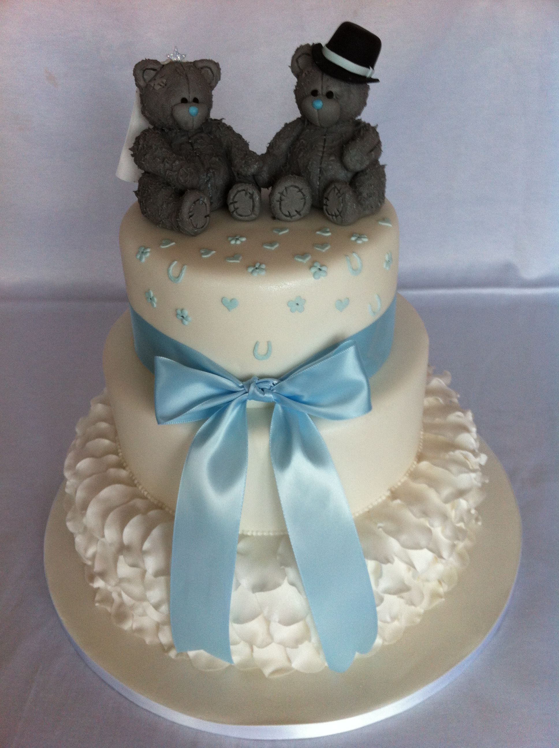 Me to you bride and groom 3 tier stacked wedding cake