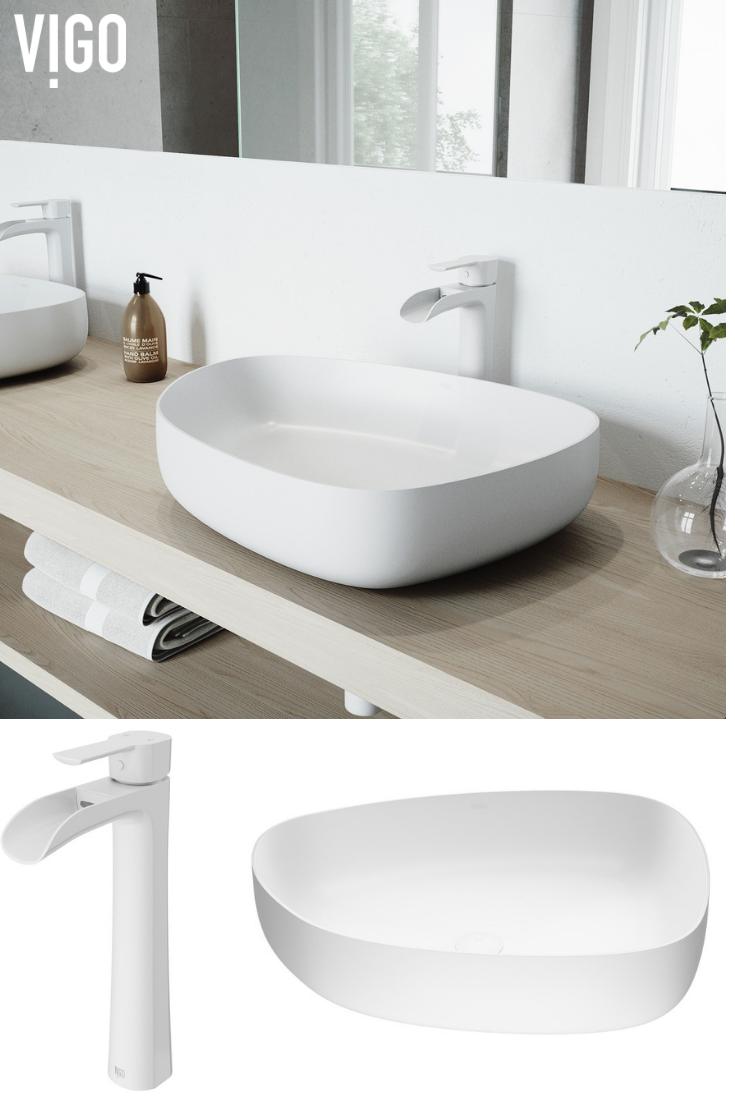 Absolutely Clean And White Bathroom The Vigo Niko Vessel Bathroom Faucet Brings A Graceful Elegance To Bathroom Faucets Luxury Bathroom Sinks Ideal Bathrooms [ 1102 x 735 Pixel ]