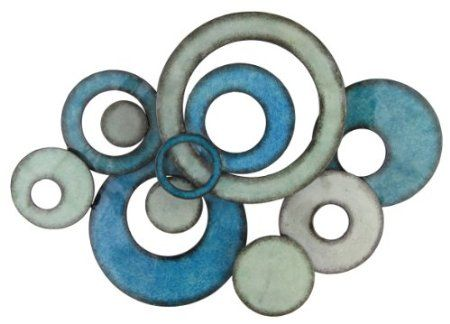 Pacific Home Metal Wall Art Circle Design In Aqua: Amazon.co.uk ...