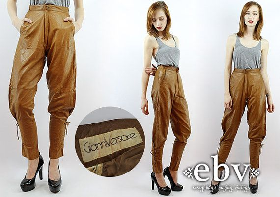 ada696c4 Vintage 80s High Waisted VERSACE Leather Pants High by shopEBV ...