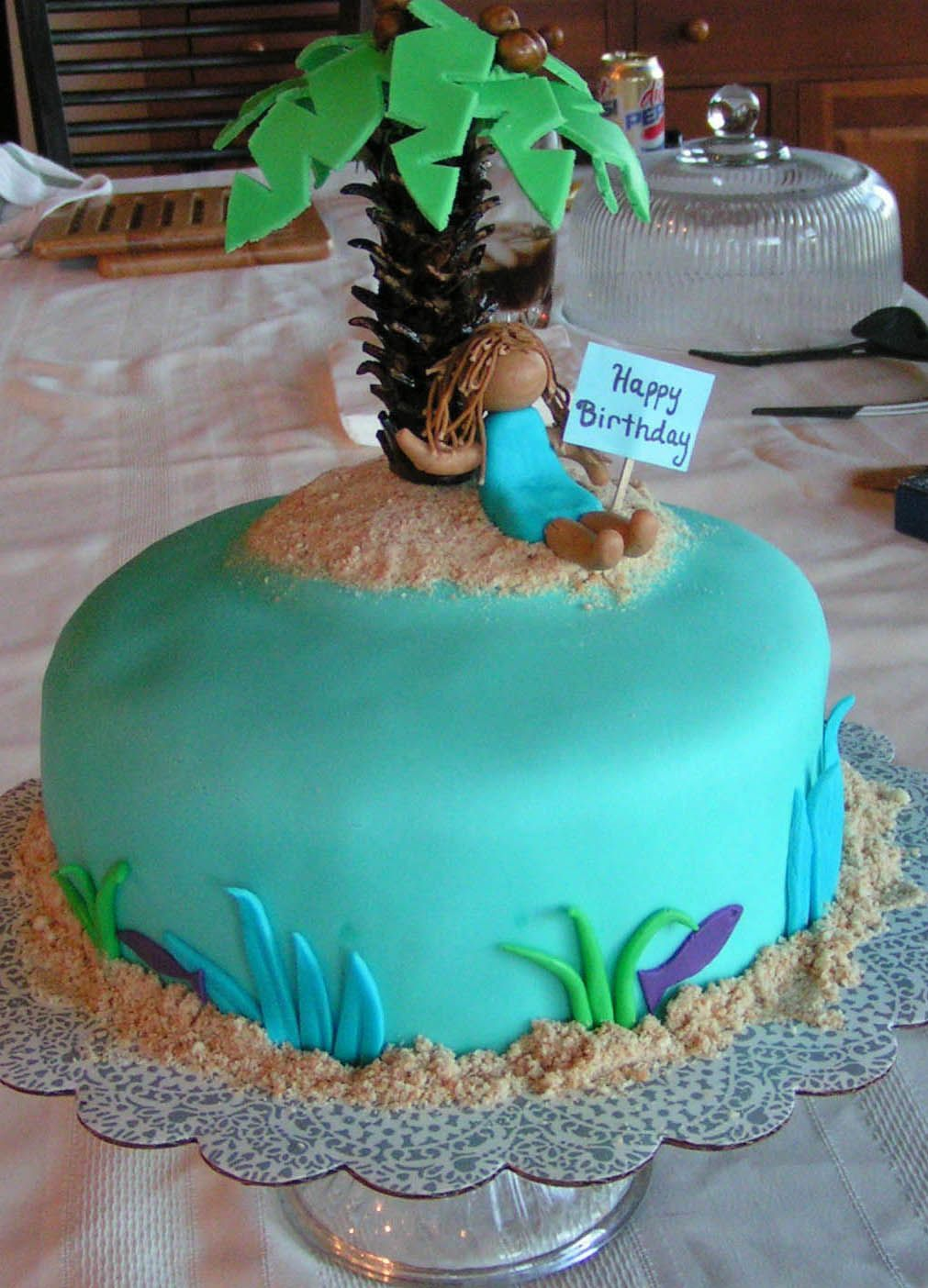 Brilliant Sisters Island Palm Tree Birthday Cake With Images Palm Birthday Cards Printable Trancafe Filternl