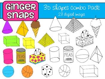 3D Shapes Clipart | Math clipart, 3d shapes and Clip art