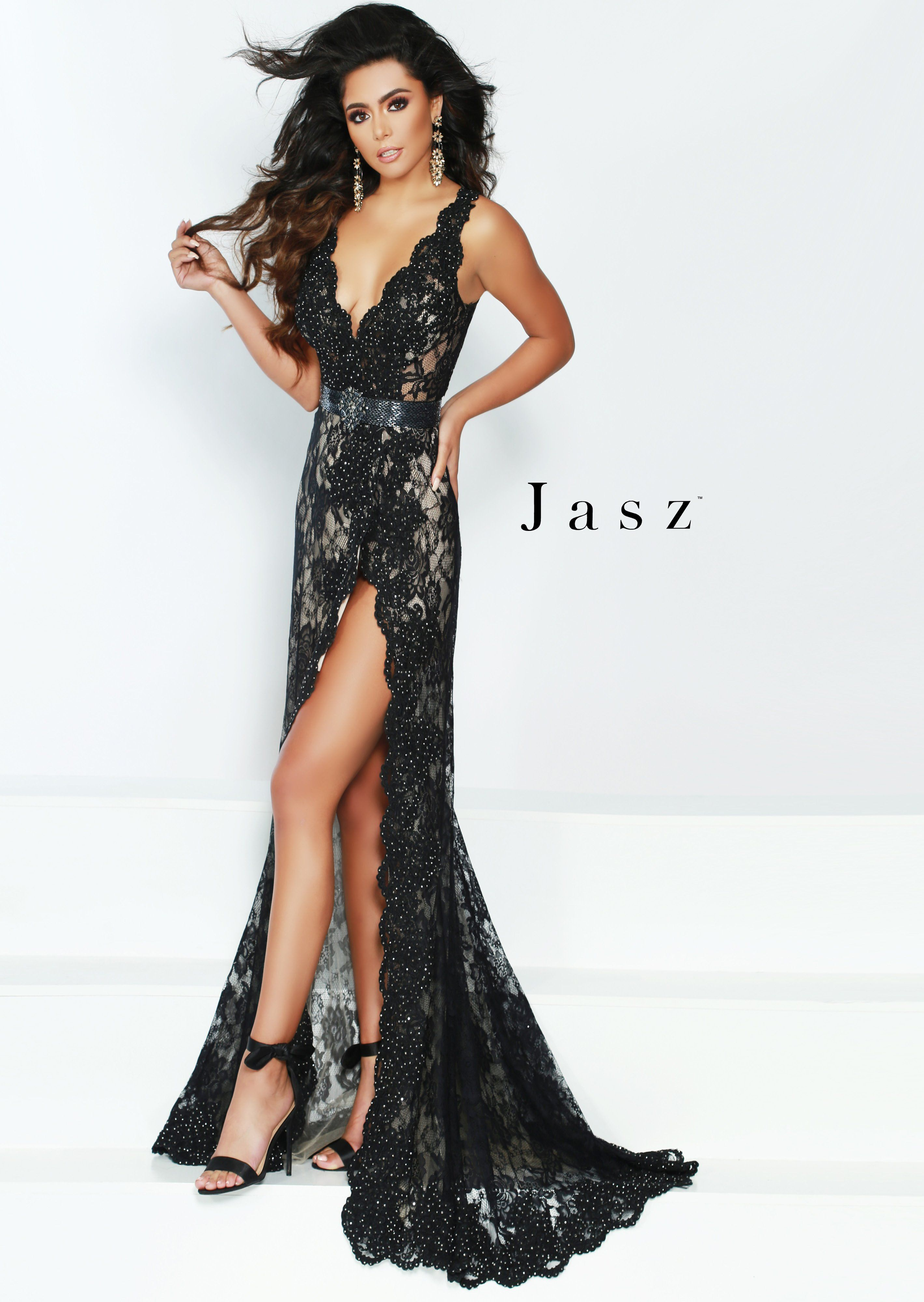9d94c9bb3d Jasz Couture 6427 Black V-Neck Open-Back Split Lace Prom Dress in ...