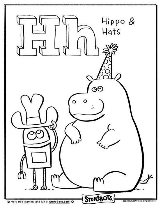 Hello To H Color This Huge Hippo And Hat Here Abc Coloring