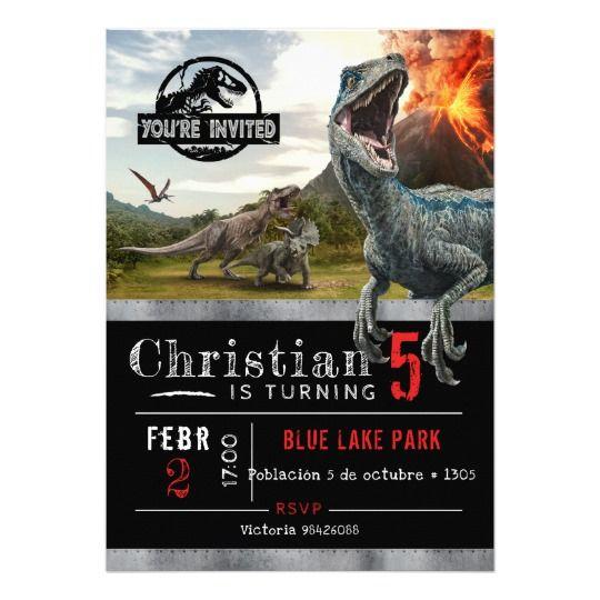 Jurassic World Dinosaur Birthday Invitation Invitaciones