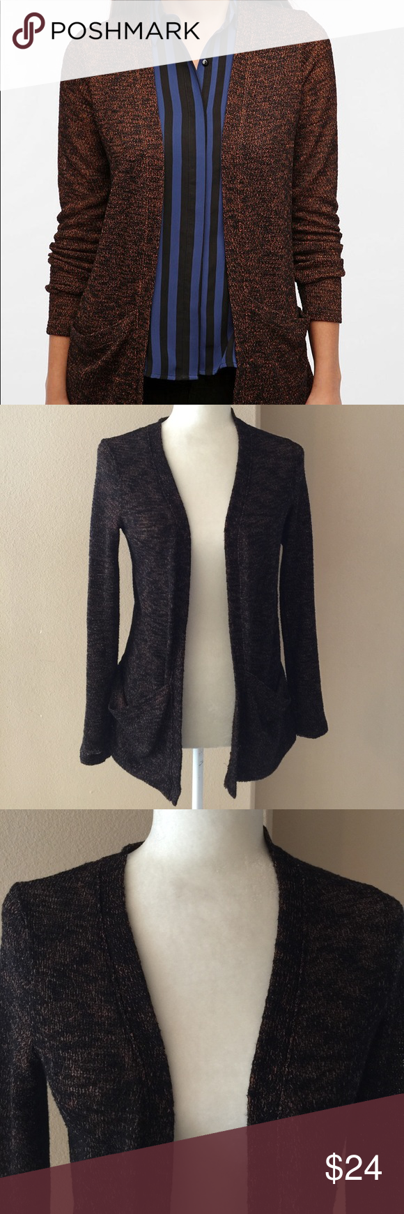 Urban Outfitters Sparkle&Fade Brown Open Cardigan | Open cardigan ...