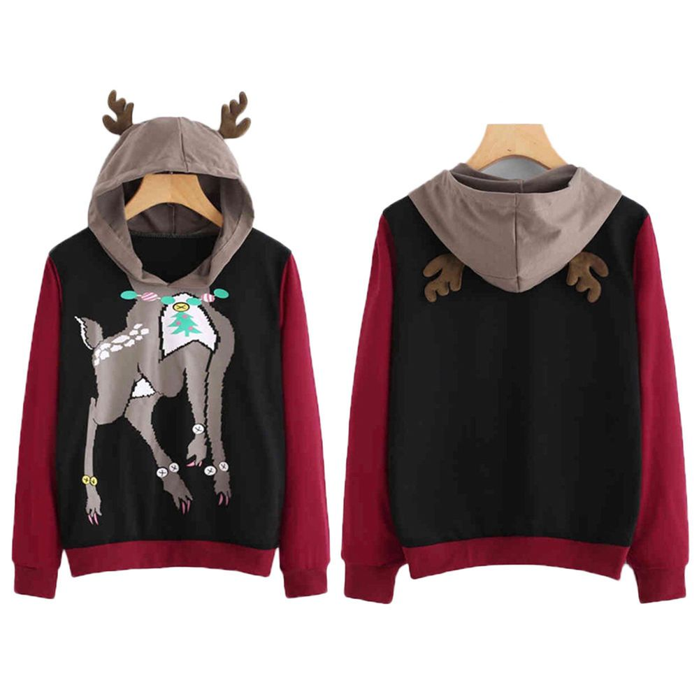 ae1572237a Women Lady Reindeer Christmas Long Sleeve Sweatshirt Jumper Sweater  Pullover Top  fashion  clothing  shoes  accessories  womensclothing   activewear (ebay ...