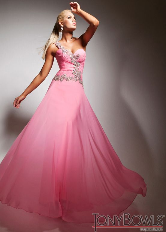 Pink One Shoulder Evening Gown - Pink Prom Dress - Tony Bowls Le Gala 113529 - ThePromDresses.com