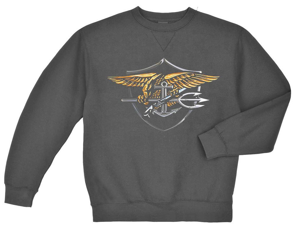 Details about US Navy Seals sweatshirt Men's dark gray USNS sweat ...